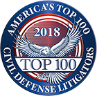 2018 America's Top 100 Civil Defense Litigators Logo